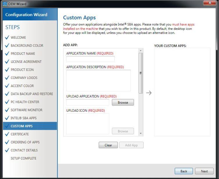 Intel SBA custom apps