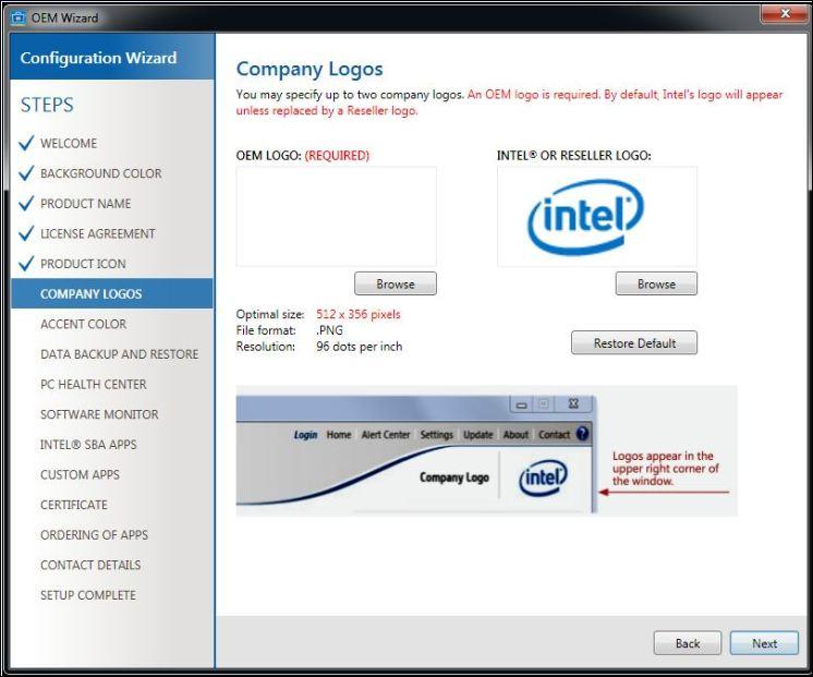 Intel SBA wizard pour configurer